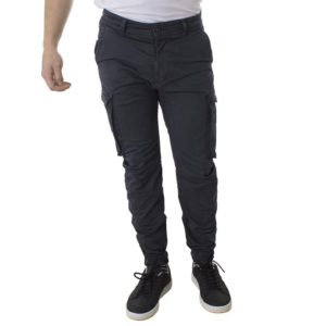 Chinos Παντελόνι Cargo με λάστιχα Back2jeans Army T37 σκούρο Γκρι