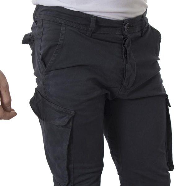 Chinos Παντελόνι Cargo με λάστιχα Back2jeans Army T37 σκούρο Γκρι