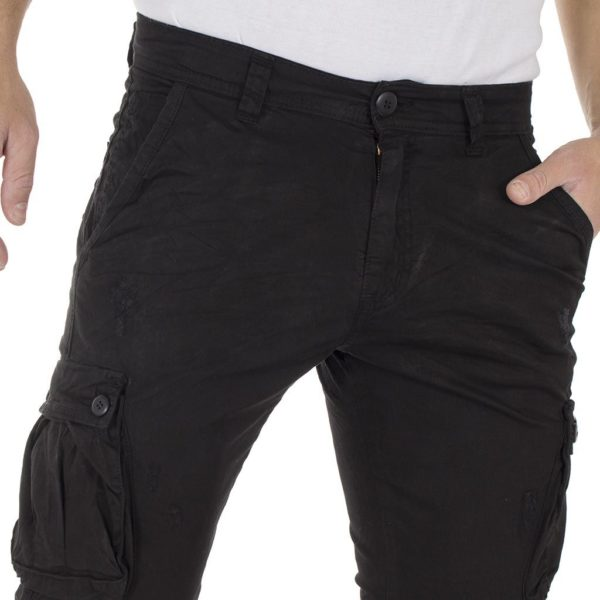 Cargo Παντελόνι Chinos DAMAGED Jeans Army s.boy D91A Μαύρο