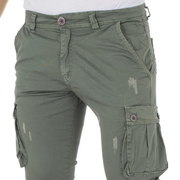 Cargo Παντελόνι Chinos DAMAGED Jeans Army s.boy D91A Χακί