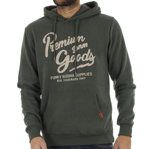 Μπλούζα Φούτερ με Κουκούλα HOODIE FUNKY BUDDHA FBM008-06218 Pesto