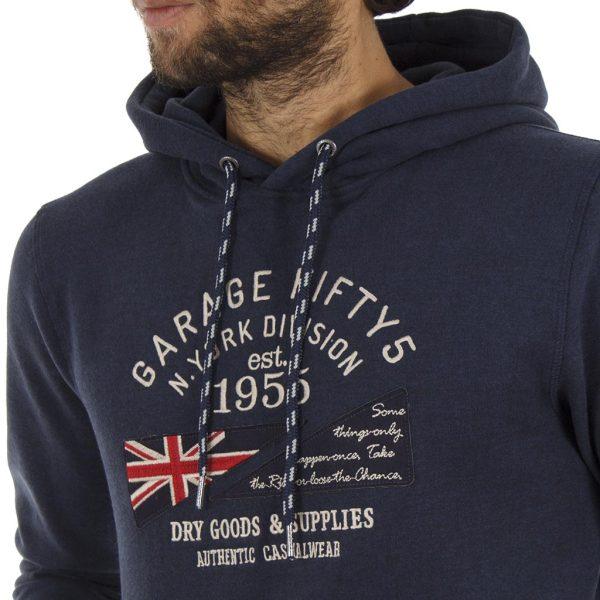 Μπλούζα Φούτερ με Κουκούλα HOODIE Garage55 GAM221-06218 Navy