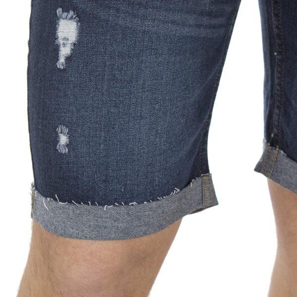 Βερμούδα Jean Denim Shorts DOUBLE MJS-13 σκούρο Μπλε