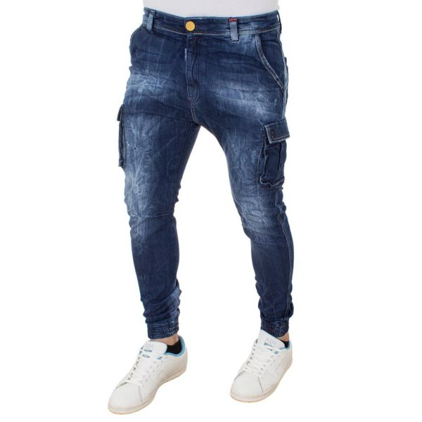 Jean Παντελόνι Cargo Chinos DAMAGED Jeans Army s.boy D91B Μπλε