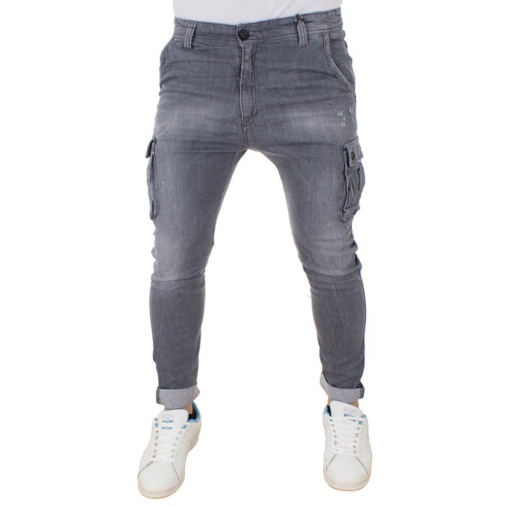 Jean Παντελόνι Cargo Chinos DAMAGED Jeans Army s.boy D91B Γκρι