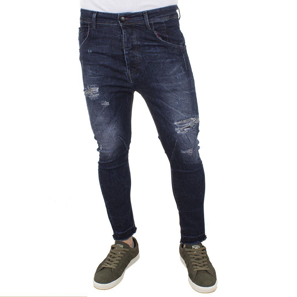 Τζιν Παντελόνι Back2jeans carot slim T51 σκούρο Μπλε