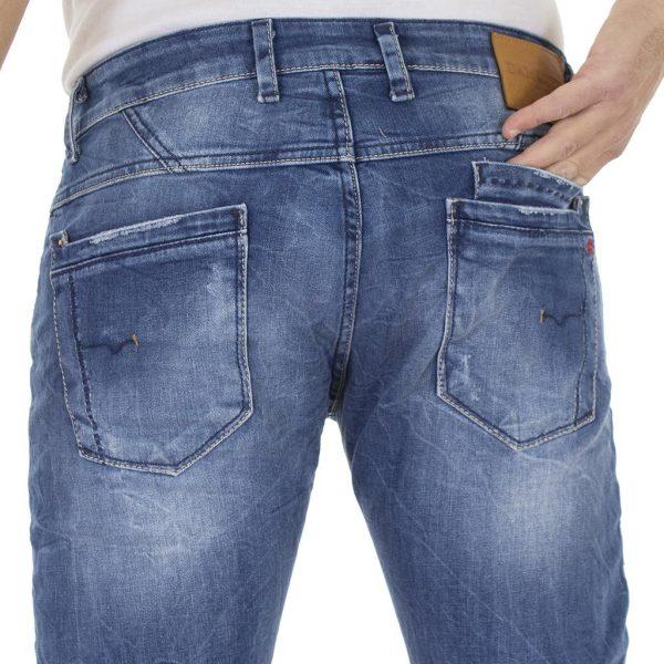 Τζιν Παντελόνι DAMAGED Jeans D50A slim Μπλε