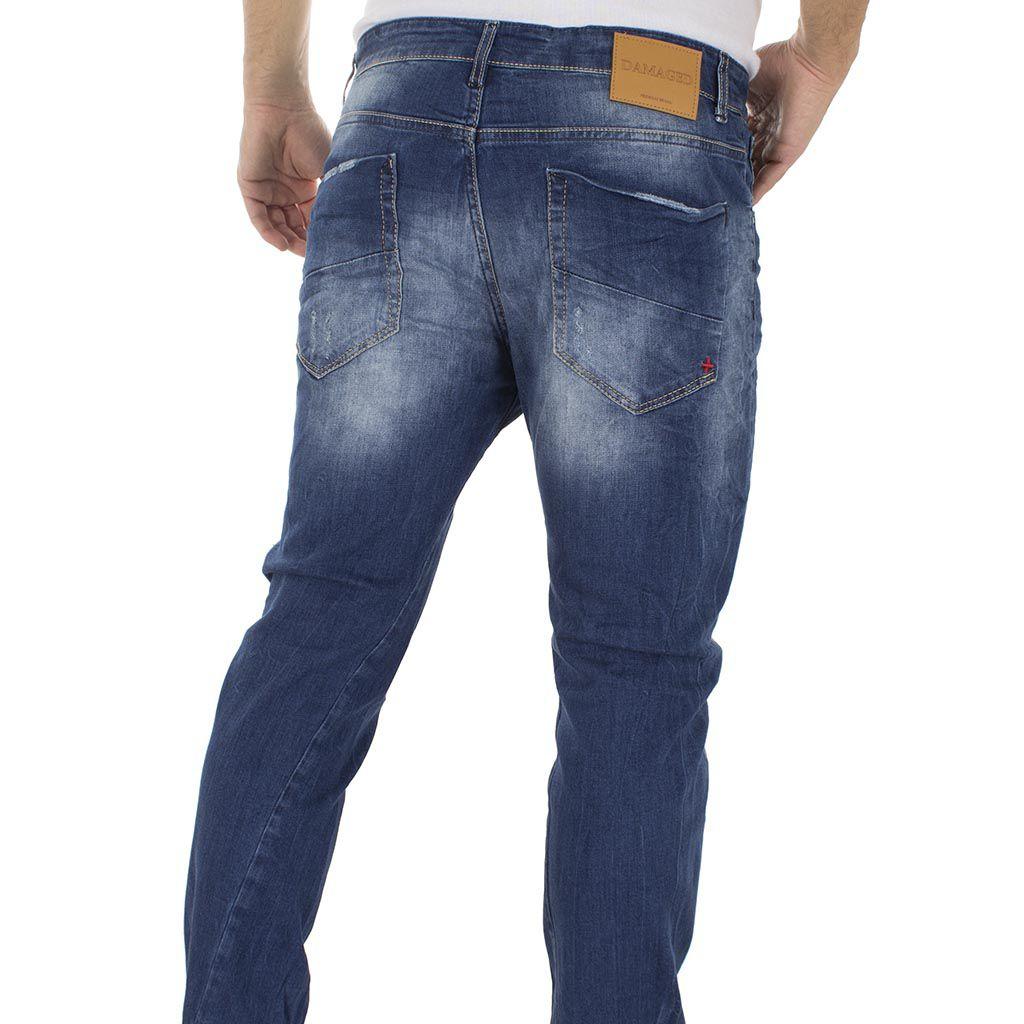 5b4bb3828a48 Τζιν Παντελόνι DAMAGED Jeans D90A twist Μπλε