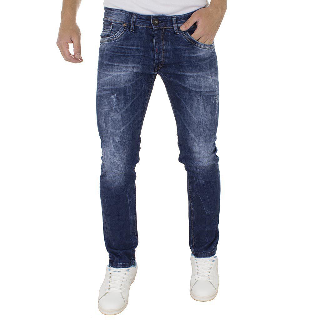Τζιν Παντελόνι Slim Fit DAMAGED Jeans D96 Μπλε  719327fe0f1