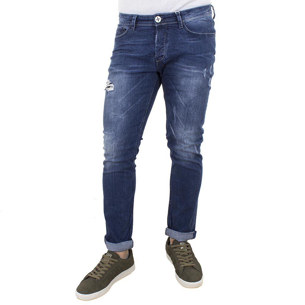 Τζιν Παντελόνι DAMAGED JEANS slim basic D15A Μπλε