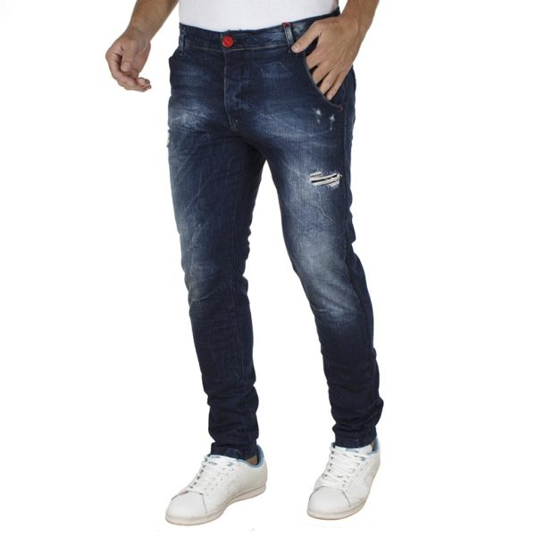 Jean Παντελόνι Slim Fit DAMAGED jeans D50 Μπλε