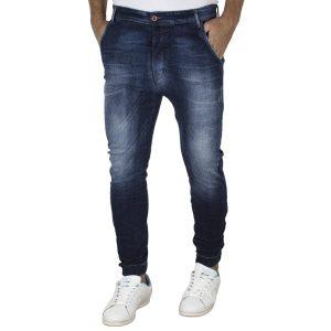Jean Παντελόνι Slim με Λάστιχα DAMAGED jeans D6A Μπλε