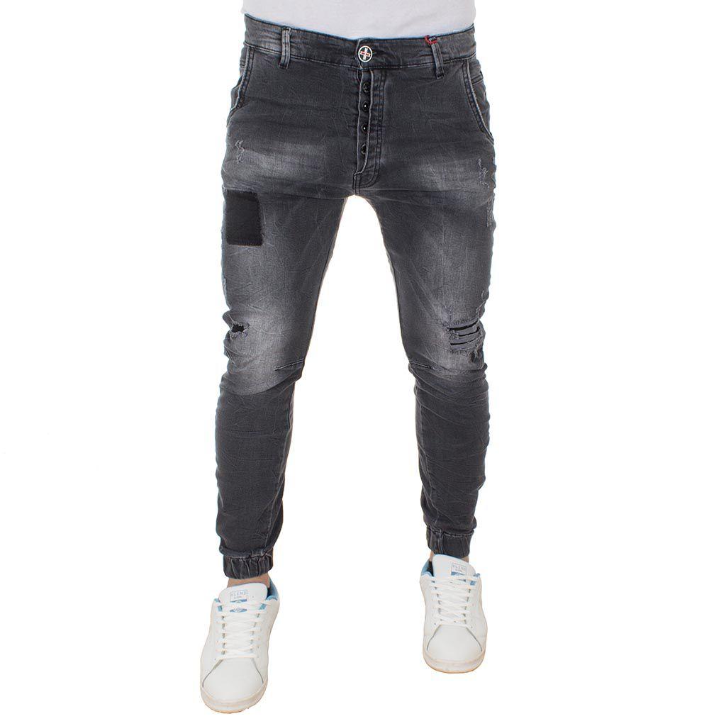 Jean Παντελόνι Chinos με Λάστιχα DAMAGED Jeans boyfriend D73B Μαύρο
