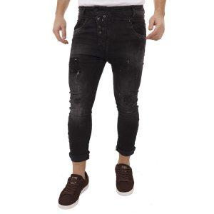 Τζιν Παντελόνι Damaged Jeans D71 Boyfriend Black Μαύρο