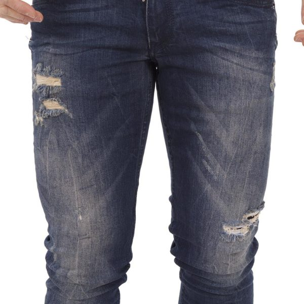 Τζιν Παντελόνι Damaged Jeans D72 Slim Blue Μπλε