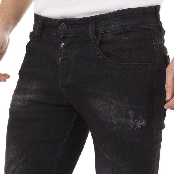 Τζιν Παντελόνι με Λάστιχο MONTOBENE R8 Slim Black Μαύρο
