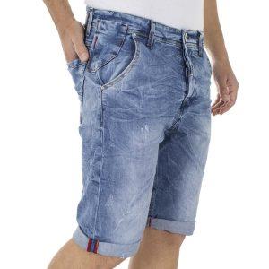 Jean Βερμούδα DAMAGED Jeans D14 Μπλε