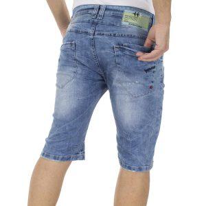 Jean Βερμούδα DAMAGED Jeans DB10 Μπλε