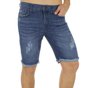 Jean Βερμούδα Denim Rugged Shorts DOUBLE MJS-15 Μπλε