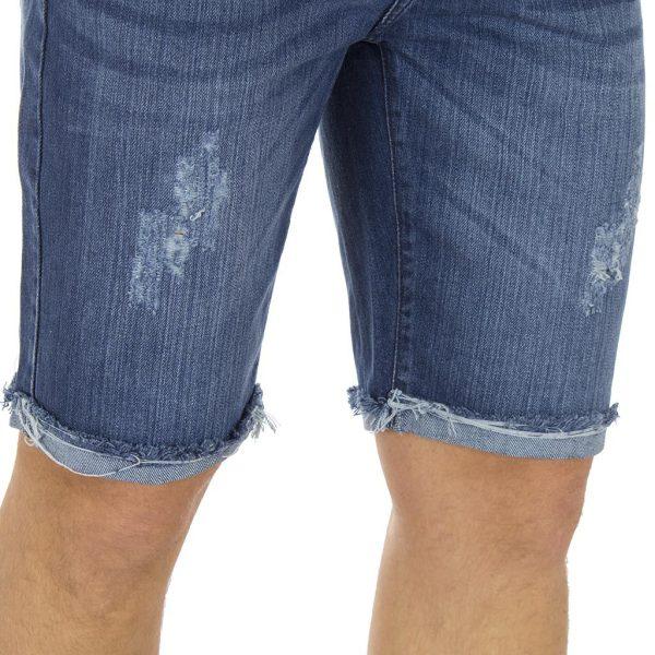 Jean Βερμούδα Denim Rugged Shorts DOUBLE MJS-15 Μπλε