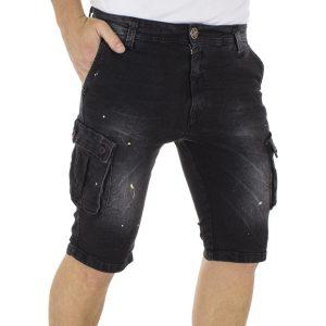 Jean Βερμούδα Cargo DAMAGED Jeans DB97A Μαύρο