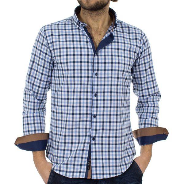 Καρό Μακρυμάνικο Πουκάμισο Slim Fit CND Shirts 2800-1 Μπλε