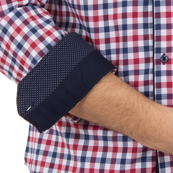 Καρό Μακρυμάνικο Πουκάμισο Slim Fit CND Shirts 2800-2 Κόκκινο