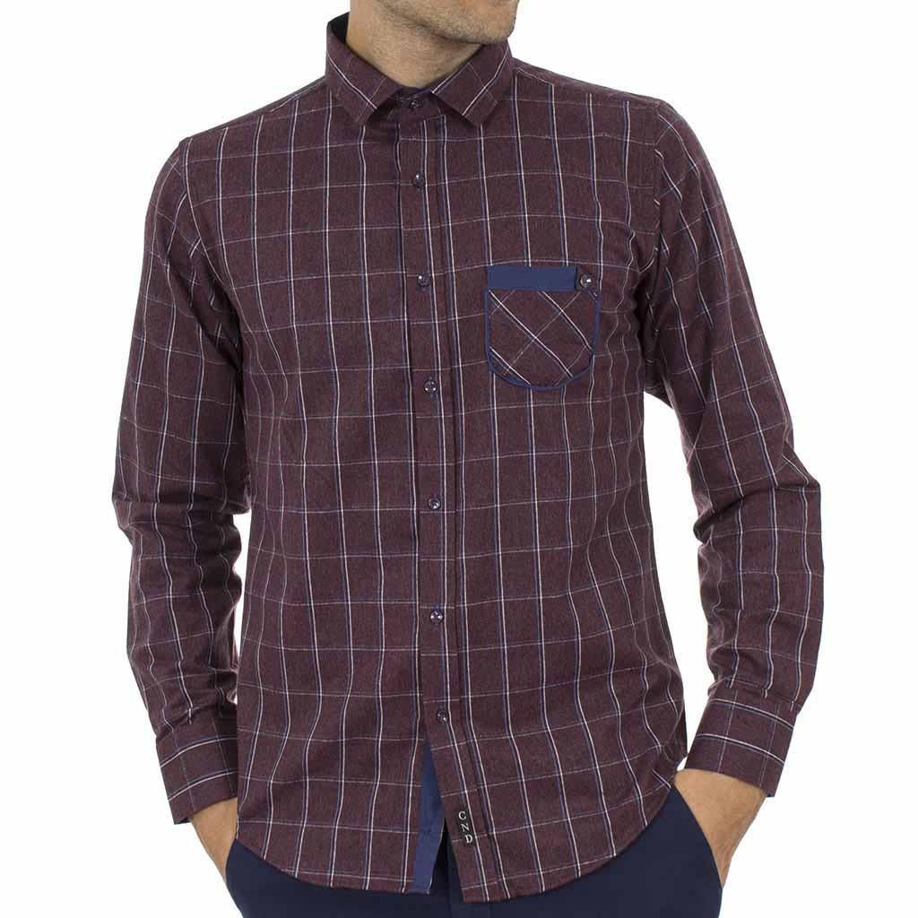 Καρό Πουκάμισο Φανέλα CND Shirts 850-6 Μπορντό  f70d2d9c359