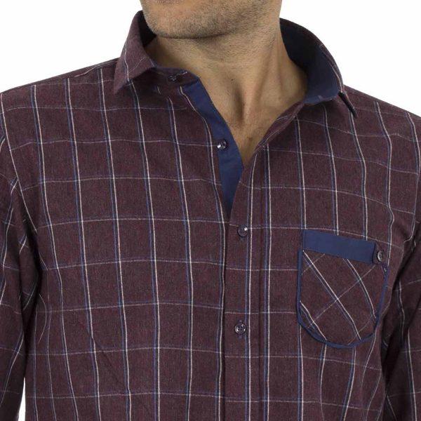Καρό Πουκάμισο Φανέλα CND Shirts 850-6 Μπορντό