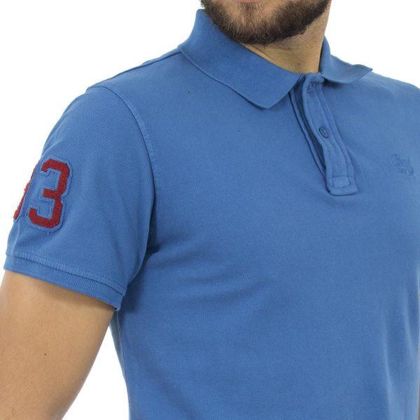 Κοντομάνικη Μπλούζα με Γιακά Polo BLEND Poloshirt 20704970 Μπλε ρουά