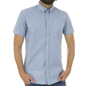 Κοντομάνικο Πουκάμισο Slim Fit Aloha Oxford Shirt DOUBLE GS-463S Γαλάζιο