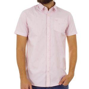 Κοντομάνικο Πουκάμισο Slim Fit Aloha Oxford Shirt DOUBLE GS-463S ανοιχτό Ροζ