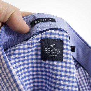 Καρό Κοντομάνικο Πουκάμισο Regular Fit Check Print DOUBLE GS-465S Γαλάζιο