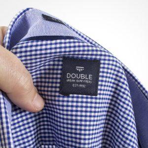 Καρό Κοντομάνικο Πουκάμισο Regular Fit Check Print DOUBLE GS466S Μπλε