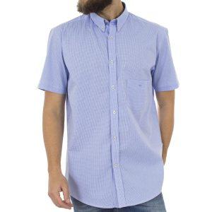 Καρό Κοντομάνικο Πουκάμισο Regular Fit Check Print DOUBLE GS466S Γαλάζιο