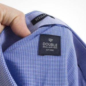 Καρό Κοντομάνικο Πουκάμισο Regular Fit Check Print DOUBLE GS466S Μπλε ρουά