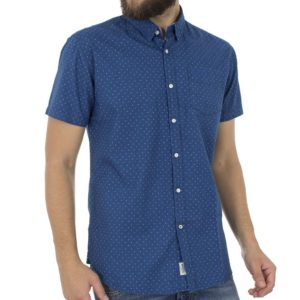 Κοντομάνικο Πουκάμισο Slim Fit Oxford Pattern DOUBLE GS-461S Μπλε ρουά