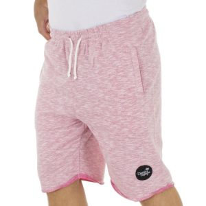 Μακό Βερμούδα DOUBLE Terry Fleece Melange Shorts MS-12 Ροζ