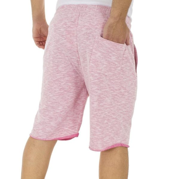 Μακό Βερμούδα DOUBLE Terry Fleece Melange Shorts MS-12 Ροζ