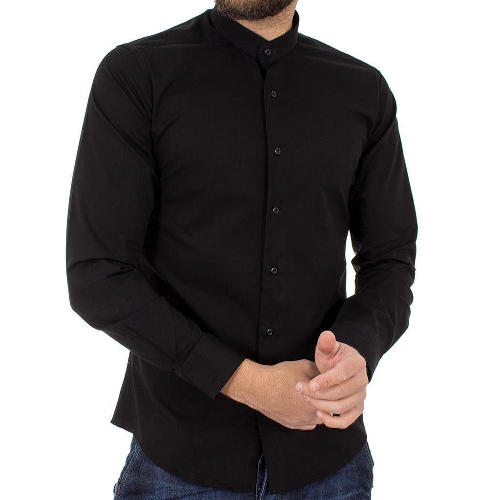 a9988d7e95f2 Μάο Μακρυμάνικο Πουκάμισο Slim Fit ENDESON FASHION 1050 Μαύρο ...