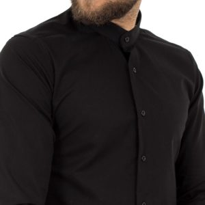 Μάο Μακρυμάνικο Πουκάμισο Slim Fit ENDESON FASHION 1050 Μαύρο