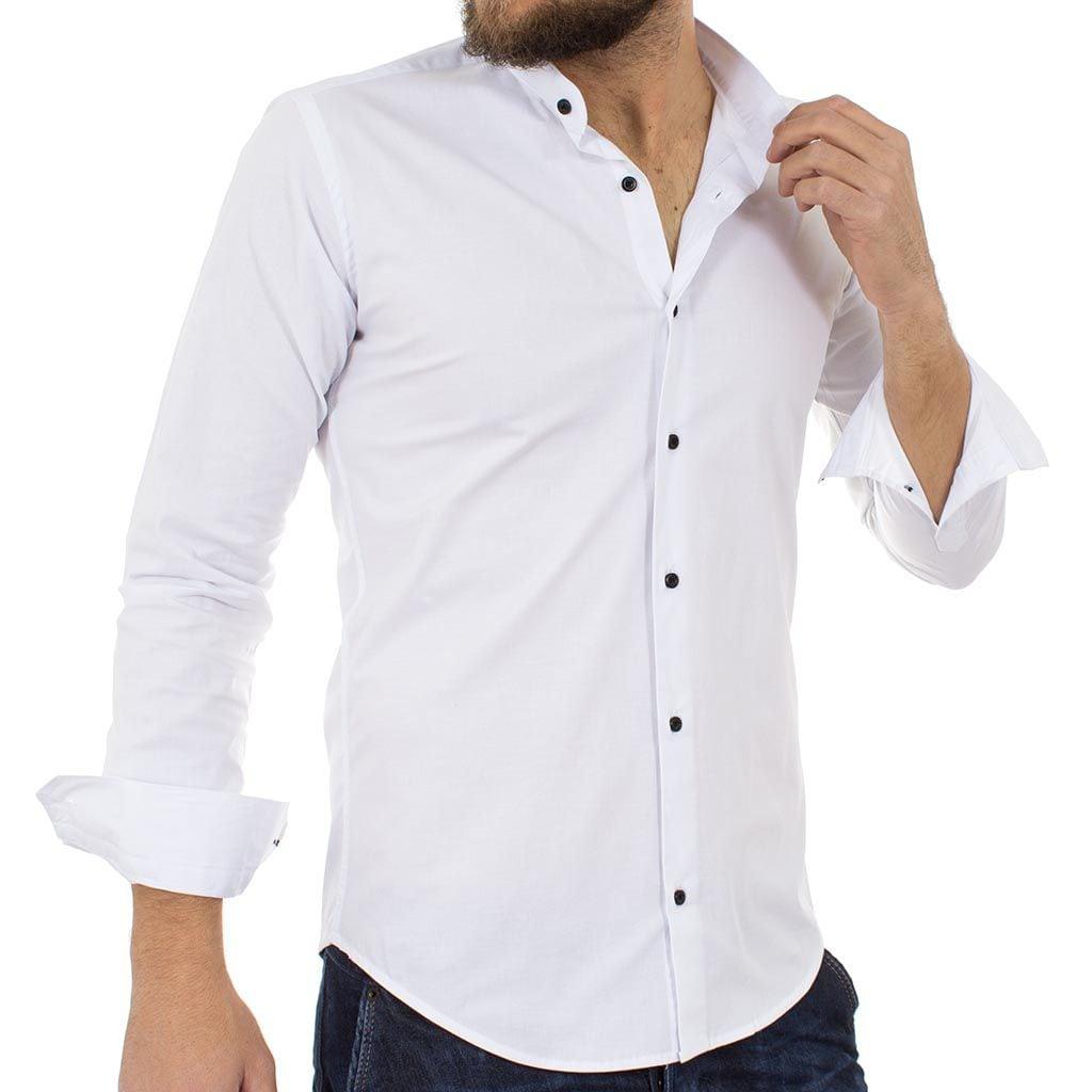 ccaf009c0a15 Μάο Μακρυμάνικο Πουκάμισο Slim Fit ENDESON FASHION 1050 Λευκό ...