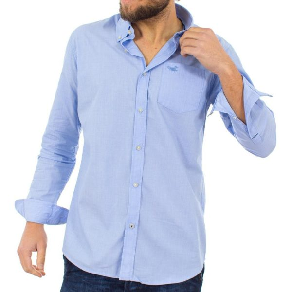 Μακρυμάνικο Πουκάμισο Regular Fit Button Down Shirt DOUBLE GS-462 Γαλάζιο