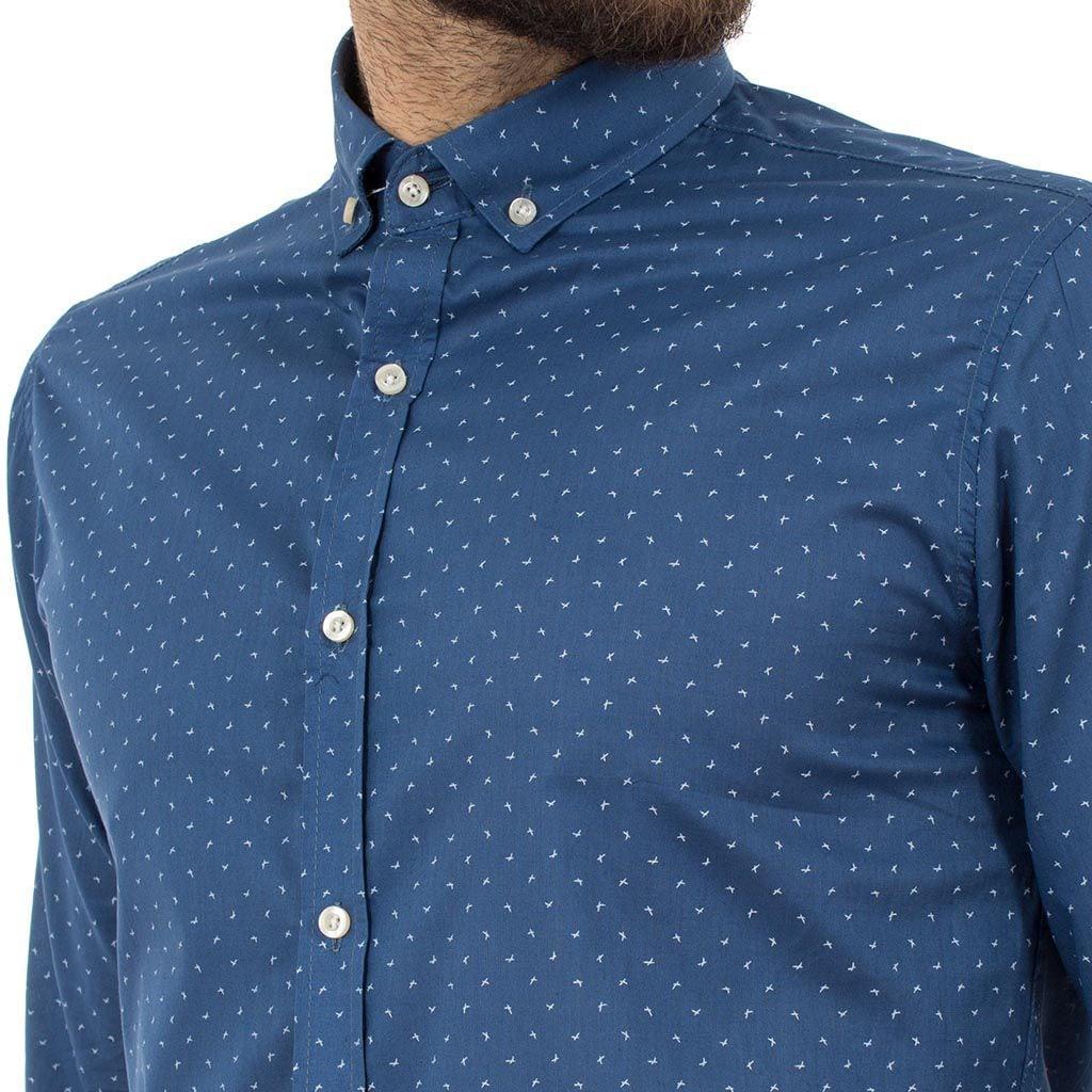7dfffcc7ce8 Μακρυμάνικο Πουκάμισο Regular Fit Oxford Shirt DOUBLE GS-464 Μπλε