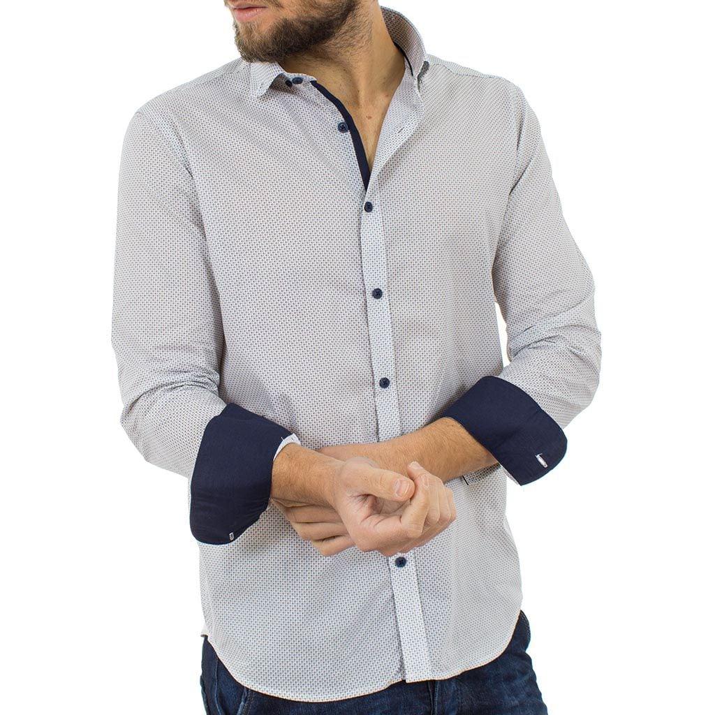 Μακρυμάνικο Πουκάμισο Regular Fit Oxford Shirt DOUBLE GS-464 Εκρού
