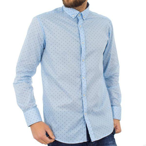 Μακρυμάνικο Πουκάμισο Regular Fit Oxford Shirt DOUBLE GS-464 Γαλάζιο