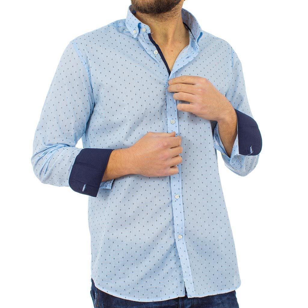 Μακρυμάνικο Πουκάμισο Regular Fit Oxford Shirt DOUBLE GS-464 Γαλάζιο ... 5d556fac918