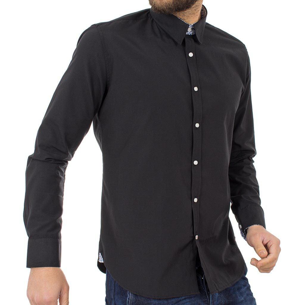 Μακρυμάνικο Πουκάμισο Regular Fit Oxford Shirt DOUBLE GS-467 Μαύρο