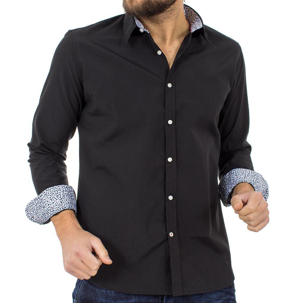 Μακρυμάνικο Πουκάμισο Regular Fit Oxford Shirt DOUBLE GS-467 Μαύρο ... 34899a29e3e