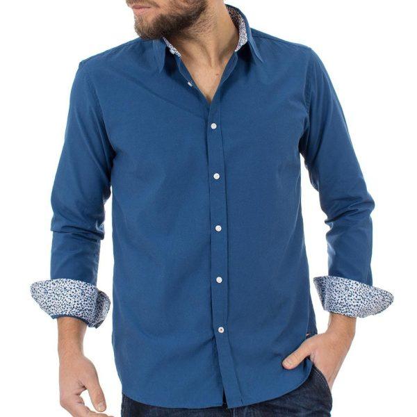Μακρυμάνικο Πουκάμισο Regular Fit Oxford Shirt DOUBLE GS-467 Indigo
